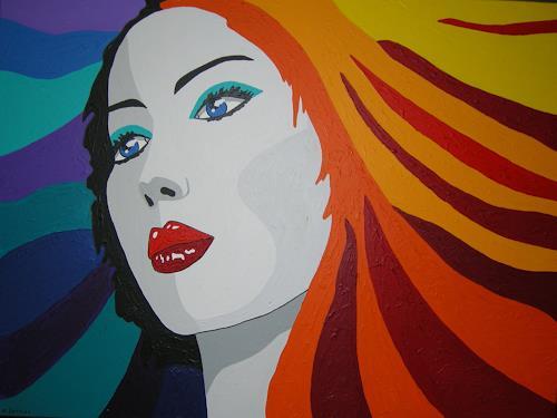 Michaela Zottler, Funky Hair, Menschen: Frau, Menschen: Porträt, Pop-Art, Abstrakter Expressionismus