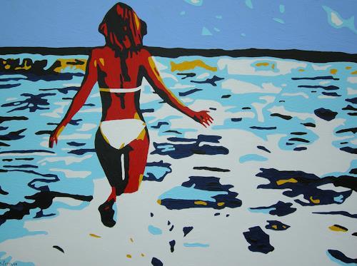 Michaela Zottler, Summer girl, Menschen: Frau, Landschaft: Sommer, Pop-Art, Abstrakter Expressionismus