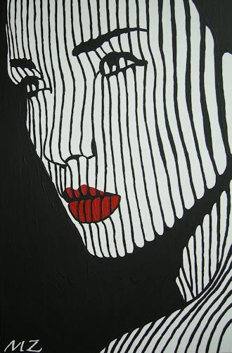 Michaela Zottler, Light in black, Menschen: Frau, Menschen: Porträt, Pop-Art, Abstrakter Expressionismus