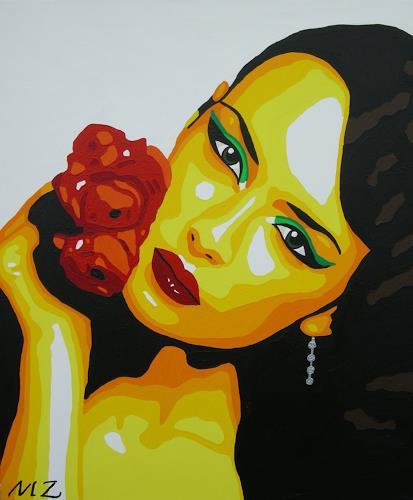 Michaela Zottler, Flower passion, Menschen: Frau, Menschen: Porträt, Pop-Art