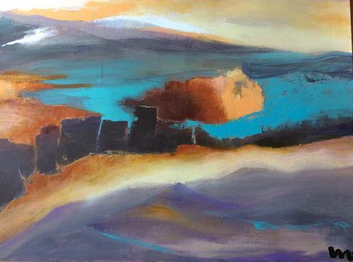 miro sedlar, on the lake, Landschaft: See/Meer, Abstrakte Kunst, Expressionismus