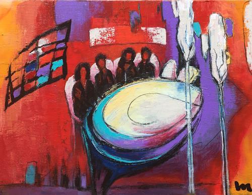 miro sedlar, white table, Abstraktes, Abstrakte Kunst