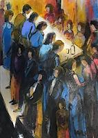 miro-sedlar-Menschen-Gruppe-Moderne-expressiver-Realismus
