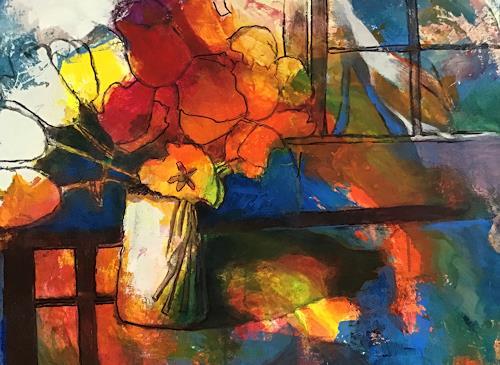 miro sedlar, Flowers, Pflanzen: Blumen, Abstrakte Kunst, Expressionismus