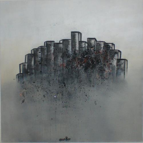 Cornelia Hauch, Stadt im Nebel, Abstraktes, Abstrakte Kunst