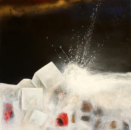 Cornelia Hauch, In Pesaro nachts am Meer, Abstraktes, Natur: Gestein, Abstrakter Expressionismus, Expressionismus