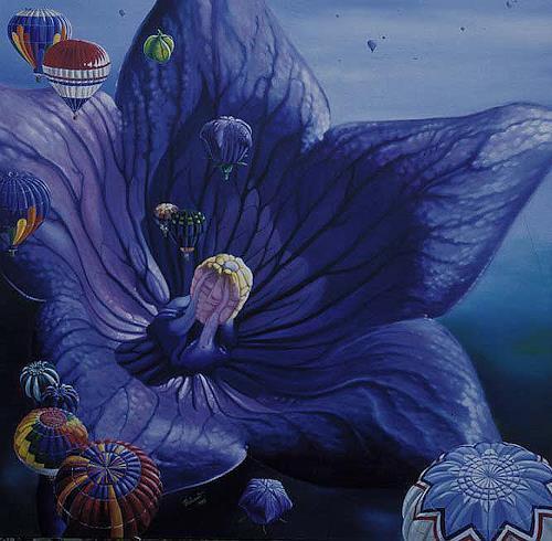 Roland Spohn, Die Ballonblume, Pflanzen: Blumen, Fantasie, Postsurrealismus, Expressionismus