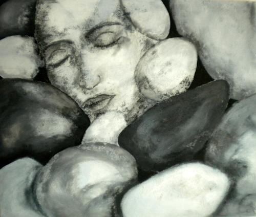 Claudia Neusch, Auch Steine haben eine Seele, Abstraktes, Menschen: Gesichter, Moderne, Abstrakter Expressionismus