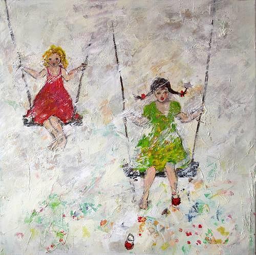 Rose Lamparter, Schaukel, Abstraktes, Menschen: Kinder, Abstrakte Kunst, Expressionismus