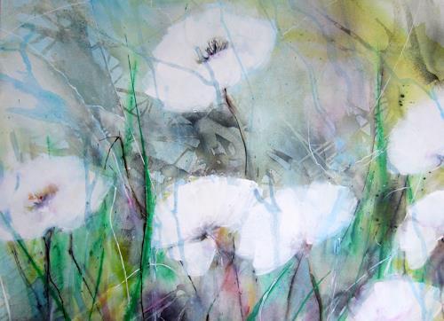 Rose Lamparter, weißer Mohn, Pflanzen, Abstrakte Kunst, Expressionismus