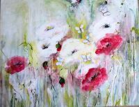 Rose Lamparter, roter und weißer Mohn