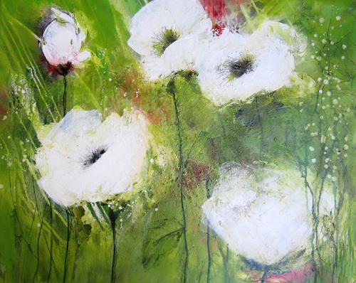 Rose Lamparter, weißer Mohn 2, Pflanzen, Abstrakte Kunst, Expressionismus