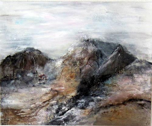 Rose Lamparter, Berge, Landschaft, Aktionskunst, Abstrakter Expressionismus