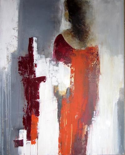 Rose Lamparter, Dame in rot, Abstraktes, Abstrakte Kunst, Expressionismus