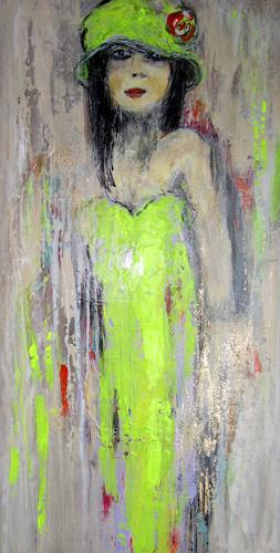 Rose Lamparter, Neon-grün, Abstraktes, Abstrakte Kunst