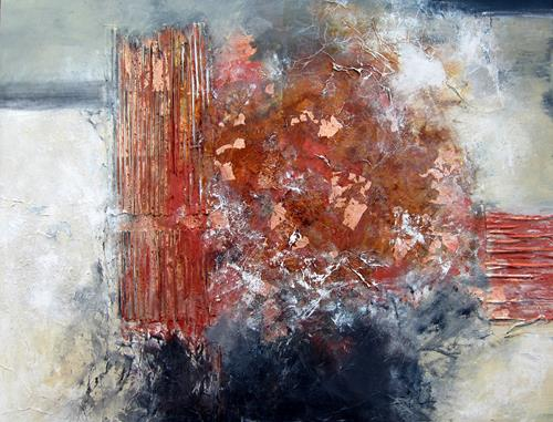 Rose Lamparter, kupfer/blau, Abstraktes, Abstrakte Kunst, Expressionismus
