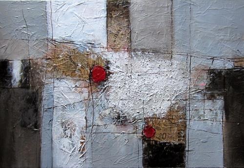 Rose Lamparter, roter Punkt T, Abstraktes, Abstrakte Kunst
