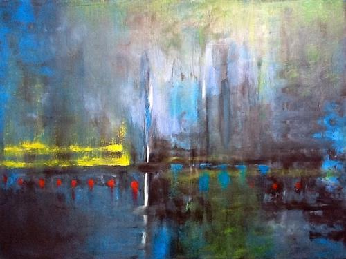 Roswitha Klotz, oT 70/5, Abstraktes, Landschaft: See/Meer, Abstrakte Kunst, Expressionismus