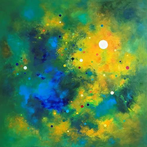 Roswitha Klotz, Dotted Colourscape, Abstraktes, Poesie, Abstrakte Kunst