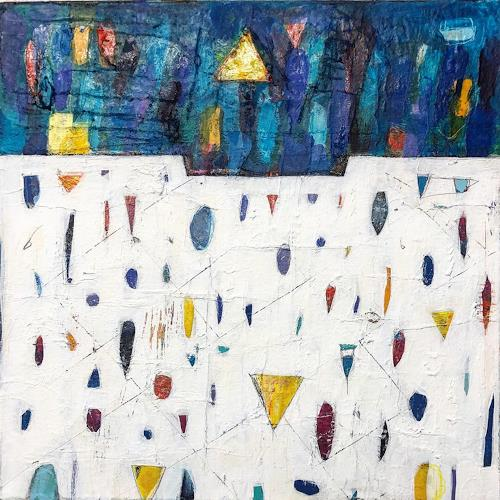 Doris Kummer, Spuren blau, Abstraktes, Abstrakte Kunst, Expressionismus