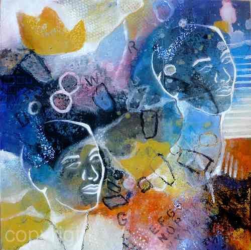 Gabriele Schmalfeldt, o.T., Menschen: Gesichter, Abstraktes, Gegenwartskunst, Abstrakter Expressionismus