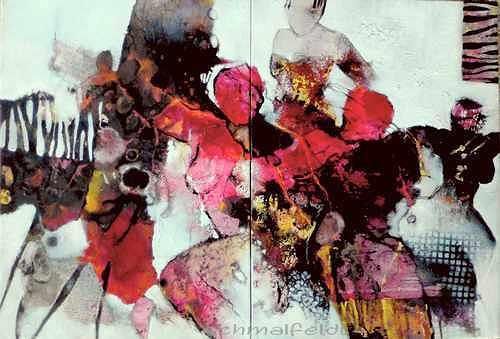 Gabriele Schmalfeldt, o.T. 01/19, Menschen: Gruppe, Situationen, Gegenwartskunst, Abstrakter Expressionismus