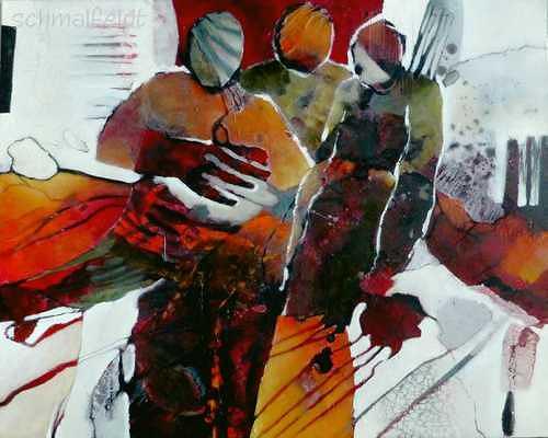 Gabriele Schmalfeldt, o.T. 26/19, Abstraktes, Menschen: Gruppe, Abstrakte Kunst, Abstrakter Expressionismus
