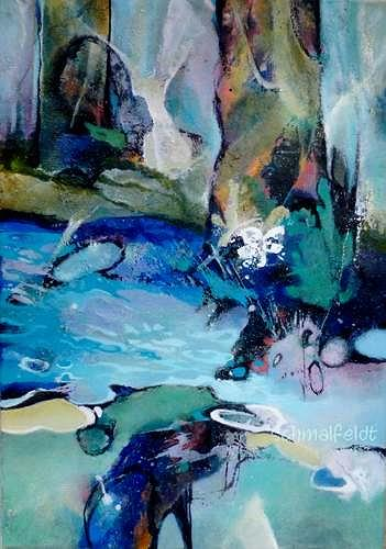 Gabriele Schmalfeldt, Unten am Fluss II, Natur: Wald, Natur: Wasser, Abstrakter Expressionismus