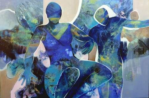 Gabriele Schmalfeldt, Blue mood, Menschen, Situationen, Abstrakter Expressionismus, Expressionismus