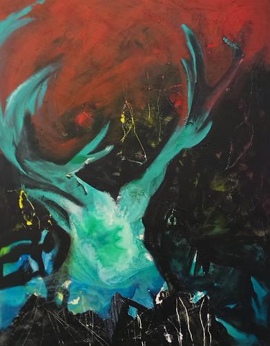 Andrea Huber, Mächtiger Hirsch, Tiere: Land, Jagd, Neo-Expressionismus