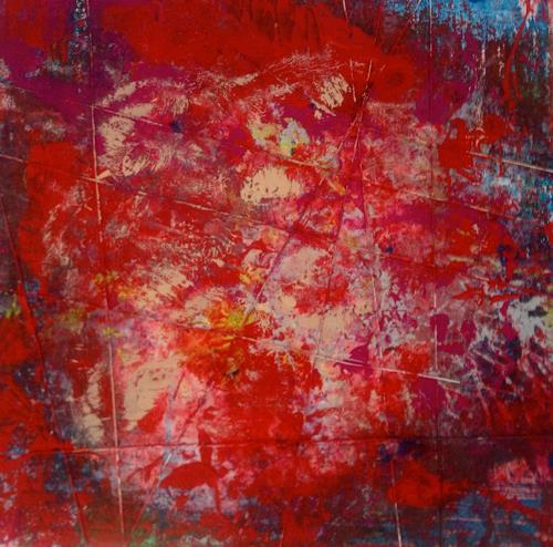 Anita Karolina Martinoli, red painting behind grid, Gefühle: Aggression, Gegenwartskunst, Abstrakter Expressionismus