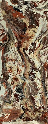 Giovanni De Luca, Braune Phantasie, Abstraktes, Action Painting
