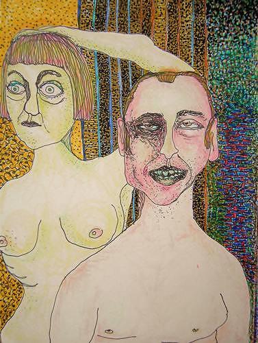 Gwendolyn Kaase, O.T., Menschen: Paare, Diverse Gefühle, Art Brut, Abstrakter Expressionismus