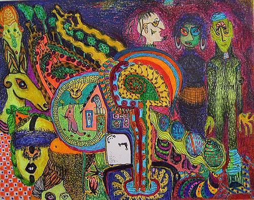 Gwendolyn Kaase, O/T, Menschen: Gruppe, Diverse Tiere, Art Brut