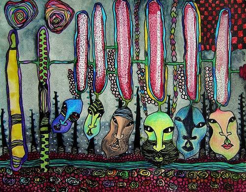 Gwendolyn Kaase, O.T., Menschen: Gesichter, Skurril, Art Brut, Abstrakter Expressionismus