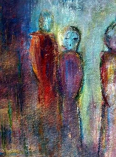 Renate Horn, Begegnung, Menschen: Gruppe, Diverse Gefühle, Abstrakte Kunst