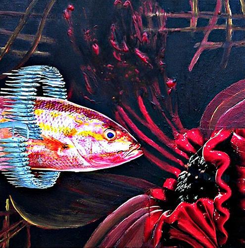 Renate Horn, Fisch(e) im unterschiedlichen Zustand...., Fantasie, Skurril, Gegenwartskunst, Abstrakter Expressionismus