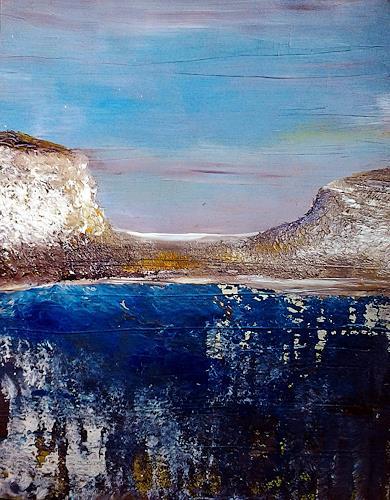 Renate Horn, Am Wasser, II, Landschaft: See/Meer, Freizeit, Gegenwartskunst, Expressionismus