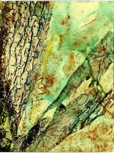 Renate Horn, Im Birkenwäldchen, Natur: Wald, Landschaft: Herbst, Gegenwartskunst, Expressionismus
