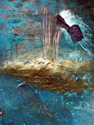 Renate Horn, Sicheres Eiland, Landschaft: See/Meer, Symbol, Gegenwartskunst