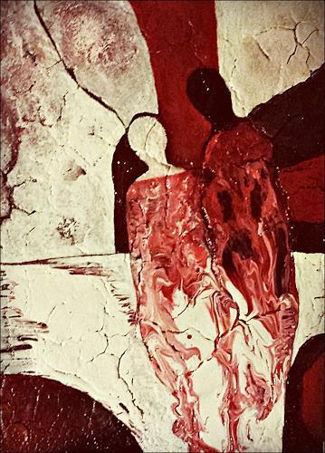 Renate Horn, Serie Rot-Braun-Weiß, VI, Nähe, Gefühle: Geborgenheit, Menschen: Paare, Gegenwartskunst, Expressionismus