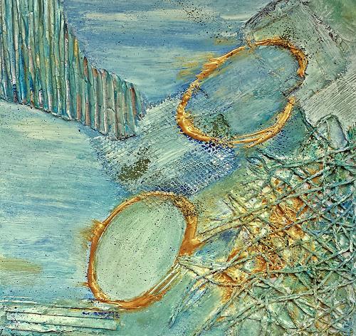 Renate Horn, Serie Materialmix II, : Rhapsody in `Schilf, Diverse Landschaften, Dekoratives, Gegenwartskunst, Expressionismus