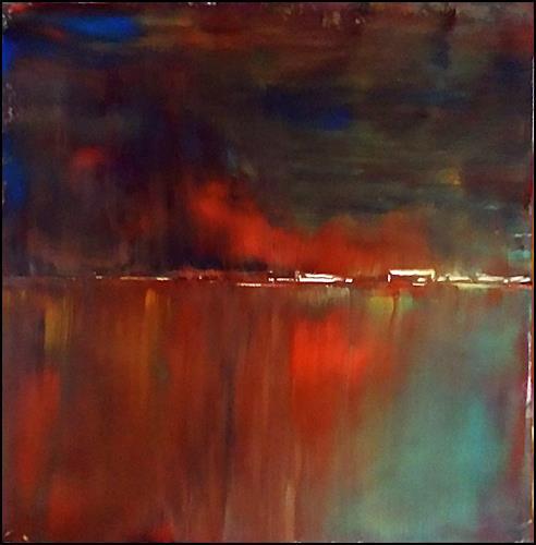 Renate Horn, Feuriger Herbst, Landschaft: Herbst, Landschaft: See/Meer, Expressionismus