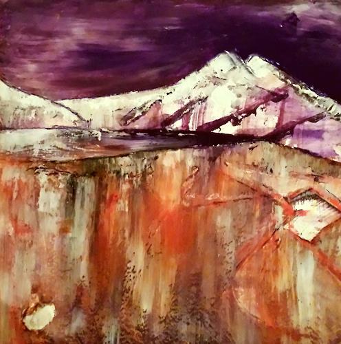 Renate Horn, Wintertag in den Bergen, Landschaft: Winter, Natur: Gestein, Gegenwartskunst, Expressionismus