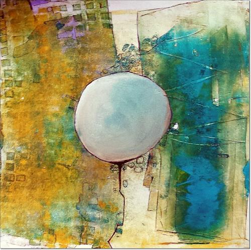 Renate Horn, Ballonfahrt, Fantasie, Abstraktes, Gegenwartskunst, Expressionismus
