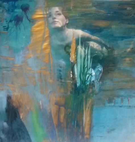 Renate Horn, Unterwasserwelt, Menschen, Natur, Gegenwartskunst, Expressionismus