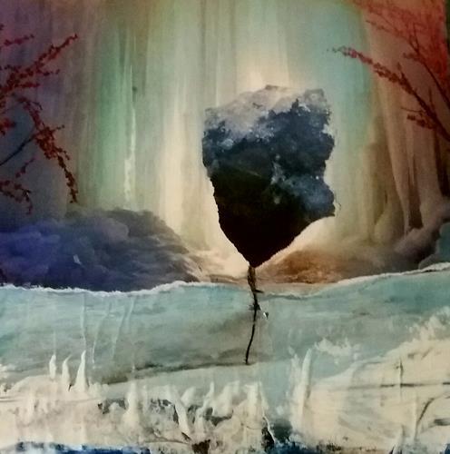 Renate Horn, Magische Nacht, Poesie, Landschaft: Winter, Gegenwartskunst, Abstrakter Expressionismus