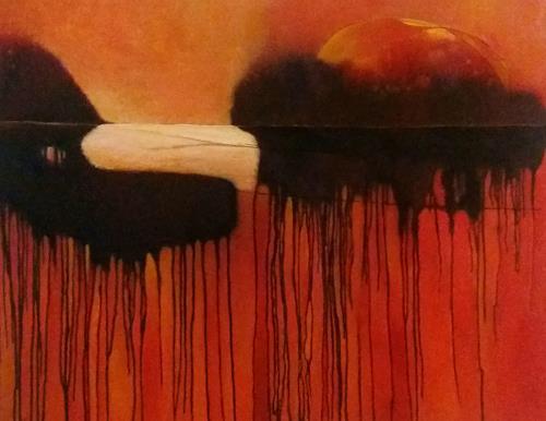 Renate Horn, Sundowner, Romantik: Sonnenuntergang, Landschaft: See/Meer, Gegenwartskunst, Abstrakter Expressionismus
