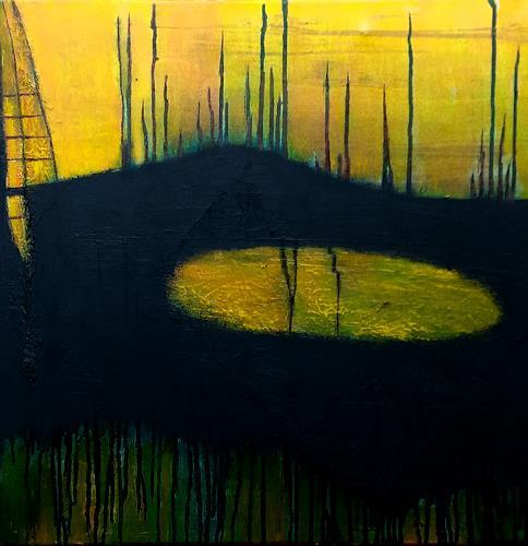 Renate Horn, Sundowner, II, Romantik: Sonnenuntergang, Landschaft: See/Meer, Gegenwartskunst, Abstrakter Expressionismus