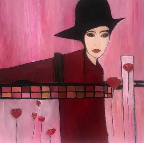 Renate Horn, Lady in red, Menschen: Frau, Pflanzen: Blumen, Gegenwartskunst, Expressionismus